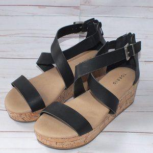 Torrid Platform Cork Wedge Sandal Size 10 Black